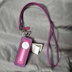 Coach Leather Striped Ipod Nano Case W/ Neckstrap!